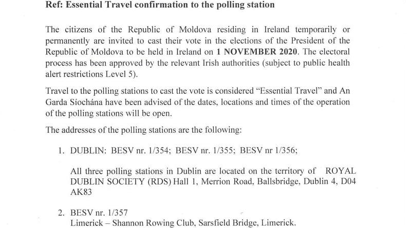 Scrisoarea ambasadei votare prezidentiale